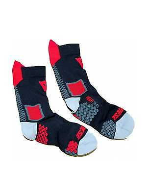 New Dainese D-Core Mid-Length Adult Footbed Compression Socks,Black/Red,Large/LG