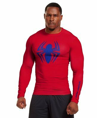 Under Armour Mens Spiderman Alter Ego Long Sleeve Compression Shirt Red / Royal