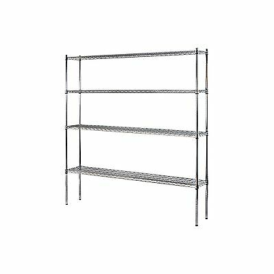 "Heavy Duty NSF Certified 4-Level Wire Shelving - Chrome (74""H x 72""W x 12""D) NEW"