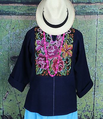 Hand embroidered Guatemala Tunic Huipil Pink Flowers Hippie Boho Cowgirl Peasant