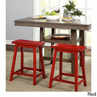 Saddle Seat Stool 24 In Counter Bar Stools Backless Wood Chair Set Of 2 Red S