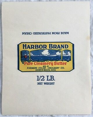 (10) Vintage 1940's Unused Harbor Beach, MI Brand Pure Creamery Butter Wrappers