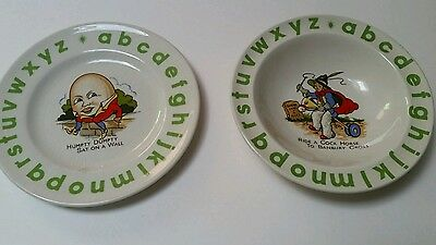 Wood & Sons Child's Bowl and Plate ABC Nursery Rhyme Green Alphabet Set