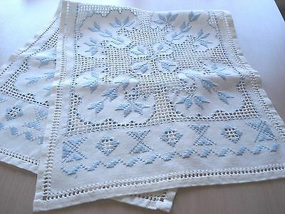 "Vintage  Hardanger Table Runner - Blue Embroidery - 14"" x 34"""