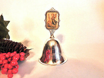 Hummel Bell Prayer of Adoration Nativity Scene Angel Silverplated Christmas Bell