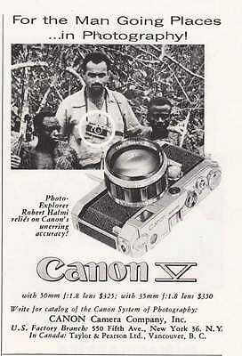1956 Canon V Camera: The Man Going Places (21143) Print Ad