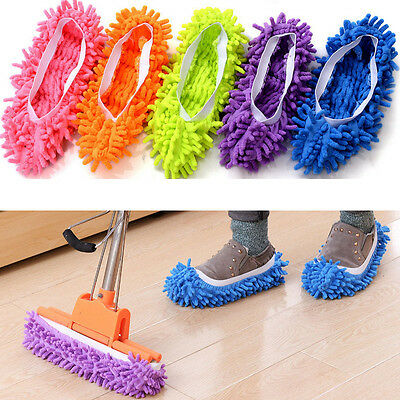 1pcs  Multi-Function Chenille Fibre Washable Dust Mop Slippers Cleaning Shoes