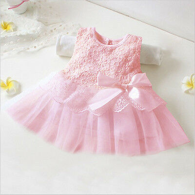 New Summer Infant Baby Girl Lace Big Bow Princess Vest Dress Casual Clothing