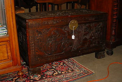 Antique Asian Carved Camphor Wood Chest