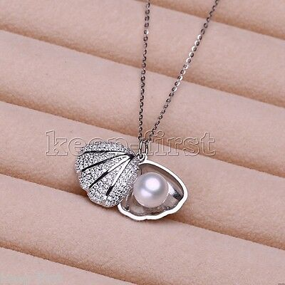 "Natural Freshwater Pearl Scallops 925 Sterling Silver Pendant Necklace 16""-20"""