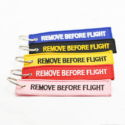 3pcs Remove Before Flight Embroidered Fabric Luggage Tag Label Key Ring Chain CN