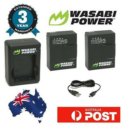 Wasabi Power kit for GoPro HERO3 HERO3+ Dual USB Charger 2x 1280mAh Battery