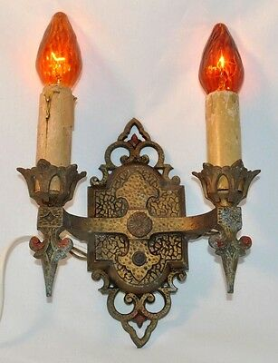Antique JC Virden 1930s Art Deco Nouveau Wall Sconce Gothic Light Fixture