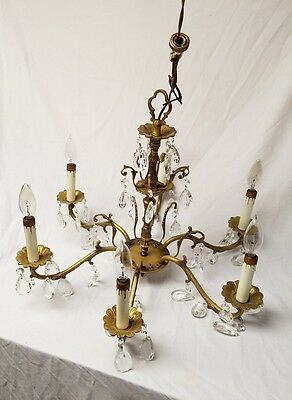 Vintage antique Brass and Crystal Chandelier, 5 Lights, Made in Spain