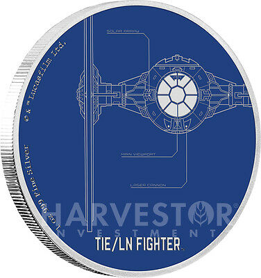 Star Wars Ships: Tie Fighter - 1 Oz. Silver Coin - Ogp Coa - 4Th In Set