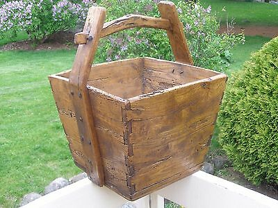 Original Primitive Chinese Asian Wooden Rice Bucket Basket Antique Handmade