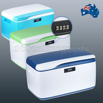 32L Plastic Locking Storage Box with Lid Coded Lock Container For Home Office AU