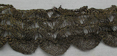 Vintage Gold Metallic Trim Open Weave w/Lace Scallop French