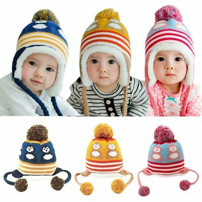 617709eedf8 AU Winter Warm Infant Baby Girl Boy Earflap Kids Toddler Cartoon Cap  Crochet Hat