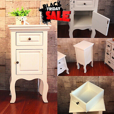 Modern Chic White Bedside Table Unit Cabinet Nightstand 1 Drawer Storage New