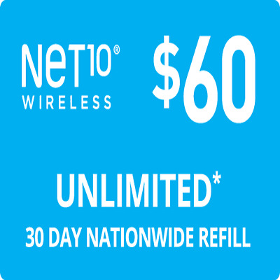 NET10 Wireless $60 Unlimited Monthly Plan Talk, Text, 10GB Data, Same Day Refill
