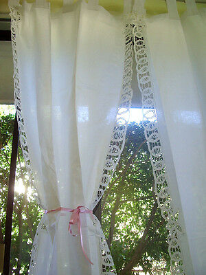 Don't Miss! Again! Pair Beautiful Handmade Batten Lace White Cotton Curtain Long