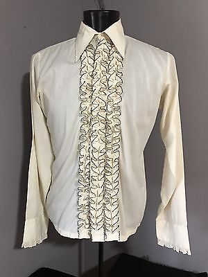 Men's 1970's Cream/Tan Ruffled Tuxedo Shirt With Black Trimmed Ruffles
