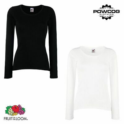 Fruit of the Loom Plain Lady Fit Long Sleeve T-Shirt Top | 2 COLOURS | XS - 2XL