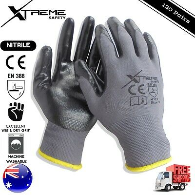 Xtreme Safety Gloves Nitrile General Purpose Mechanical Work Gloves 120 Pairs