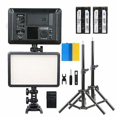 Godox 2*LED308W Pro photography Studio Video LED panel light stand battery kit