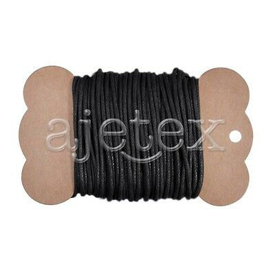 10M 1.5mm Waxed Cotton Cord Jewellery Thong Thread String Beading Craft Black
