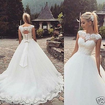 2017 New White/Ivory Lace Up Of Back Wedding Dress Bridal Gown Stock Size 6-16++
