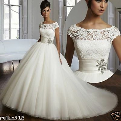 2017 New Elegance White/Ivory Wedding dress Bridal Gown Size 6 8 10 12 14 16