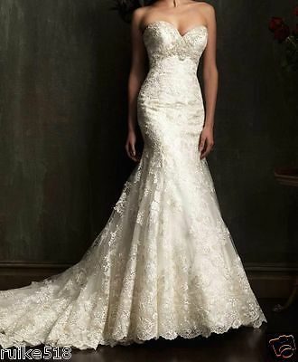 NEW Mermaid White/Ivory Lace Wedding Dress Bridal Gown Custom Size 6 8 10 12 14+