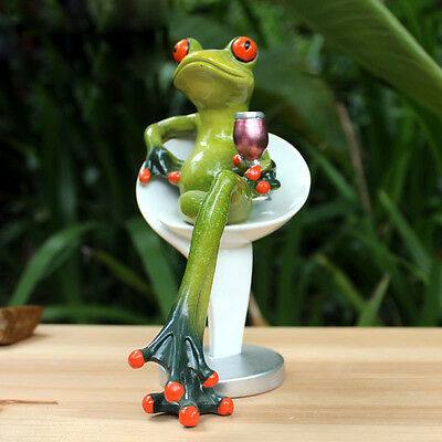 1X Green Frog Figurine Resin Frogs Colleation Decor Success Rocker Legs