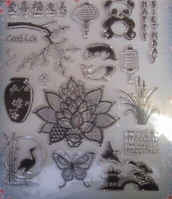 The Cherry Blossom Clear Rubber Stamp Set~19 Stamps~Craft~Cards~Art~A4 Sheet~