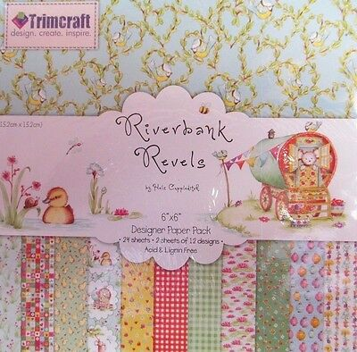 RIVERBANK REVELS 6''x 6'' PATTERNED PAPER PACK~24 SHEETS~12 DESIGNS~CRAFT~ART~