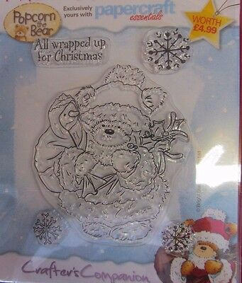 CRAFTERS COMPANION~christmas teddy bear~XMAS~CLEAR RUBBER STAMP SET~CRAFT~CARDS~