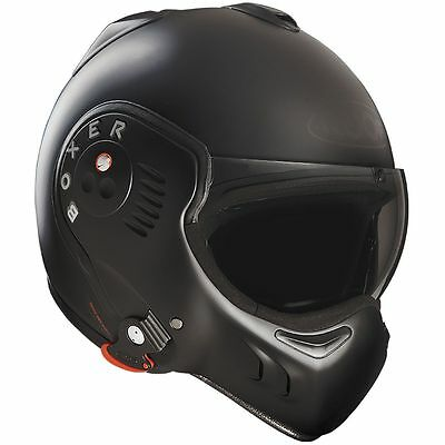 Roof Boxer V8 Matt Black Motorcycle Motorbike Convertible Helmet | All Sizes