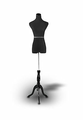 "Black Female Mannequin Dress Form Size 2-4 Small 35"" 24"" 33"" (On Black Tripod..."