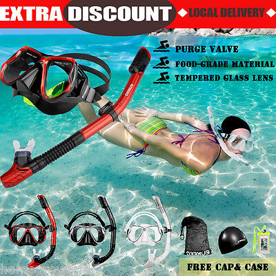 AU Snorkel Mask Scuba Goggles Swimming Diving Dry Snorkeling Set Adult for GoPro