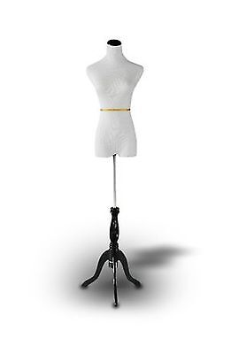 Dress Form: White Female Dress Form on Black tripod Stand Size 2-4