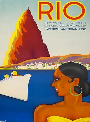 Rio Brazil Cruise to South America Vintage Travel Advertisement Art Poster 2