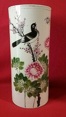 Antique Chinese Vase Birds Script Cylindrical