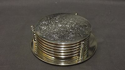 Vintage Ornate Set Of 6 Silver Plated Drink Coasters With Stand - 9.5cm Diameter