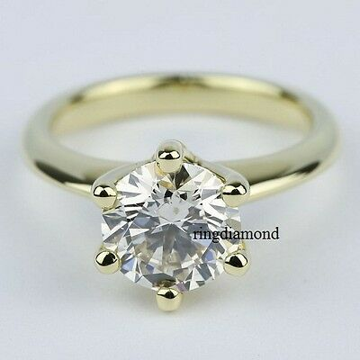 3 Ct 6 Prong Forever Off White Moissanite Engagement Ring 925 Sterling Silver