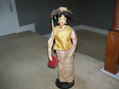 "Antique Japan Geisha Doll Fabric Face Vintage 15 1/2"" Tall On Stand"