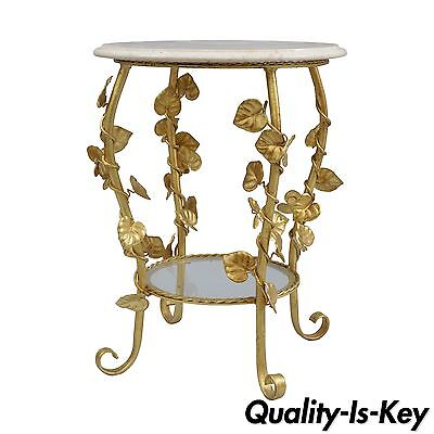 Vtg Italian Hollywood Regency Gold Gilt Iron Floral Round Marble Top Side Table