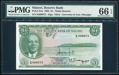 Malawi 1 Pound P3Aa PMG Gem Uncirculated 66 EPQ - Top Population