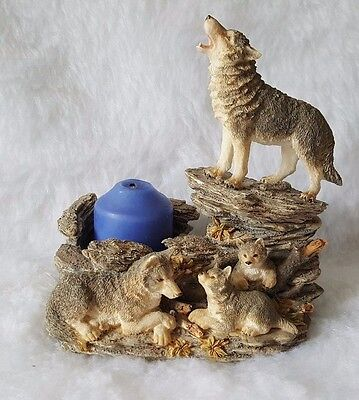 """Westland Giftware #951 5.75"""" Wolves And Pups Candle Holder Figurine"""
